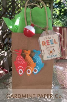 Gone Fishing Birthday Boy Theme. A reel fun time Party Favor tags with bobber and fish Gift Bag ideas