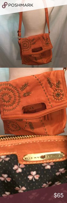 """Lucky Brand crossbody Beautiful orange leather bag with tan stitching.  Measures 11"""" across bottom & a little over 11"""" from top to bottom when  closed. 2 zippered pockets & 2 pockets inside. Super nice bag with adjustable strap.  Mint condition. Lucky Brand Bags Crossbody Bags"""