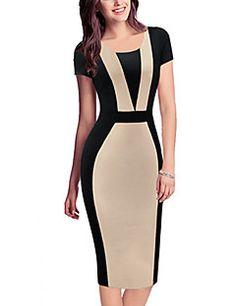 Mulheres Vestido Evasê / Bodycon Vintage / Simples / Fofo / Moda de Rua Patchwork Altura dos Joelhos Decote Redondo Algodão / Poliéster