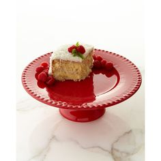 Horchow Fantasia Cake Plate ($98) ❤ liked on Polyvore featuring home, kitchen & dining, serveware, red cake stand and red cake plate