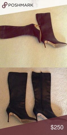 Manolo Blanik Black leather Knee high boots 7.5 Monologue Blahnik black leather knee high boots. Size 37.5. Gorgeous kitten heel boots all leather inside and out. Made in Italy.  Slight scratches on upper left calf area of boots. Otherwise no flaws, pre loved and well cared for. Manolo Blahnik Shoes Heeled Boots