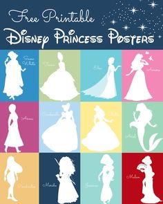 Princess Silhouette Prints Disney Princess Posters Free Printables - such a fun idea for a playroom or little girls room!Disney Princess Posters Free Printables - such a fun idea for a playroom or little girls room! Deco Disney, Disney Diy, Disney Crafts, Disney Girls, Disney Princess Silhouette, Disney Princess Party, Disney Princess Bedroom, Disney Princess Decals, Little Disney Princess