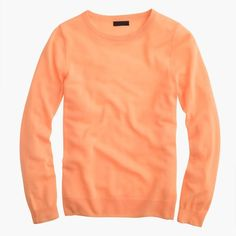 J.Crew Italian Featherweight Cashmere Long-Sleeve T-Shirt (€165) ❤ liked on Polyvore featuring tops, sweaters, long sleeve tops, red cashmere sweater, j crew tops, summer tops and feather top