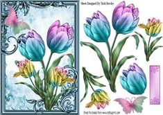 Pretty painted rainbow tulips with butterfly on Craftsuprint - Add To Basket!
