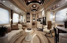 RVs and travel trailers are the epitome of compact living but what they sometimes aren't the epitome of, is stylish decor. If you're tired of your boring motorhome interior, here's some RV decorating ideas to help you turn it from drab to fab! Interior Motorhome, Trailer Interior, Rv Interior, Interior Design, Interior Ideas, Modern Interior, Motorhome Living, Motorhome Travels, Simple Interior