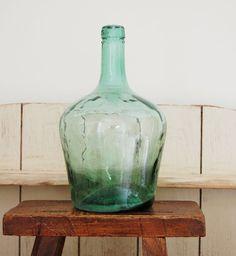 Beautiful vintage green glass bottle