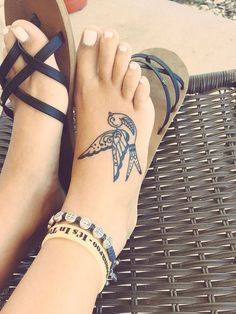 Bird Tattoo on Foot.