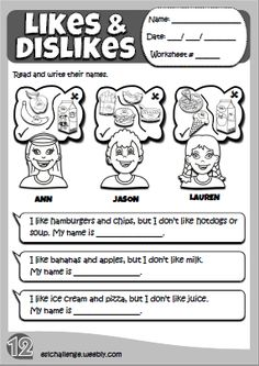 Likes & dislikes - worksheet 6 Primary English, Kids English, Learn English, English Class, English Teaching Materials, English Teaching Resources, Learning Time, Kids Learning, Magic English