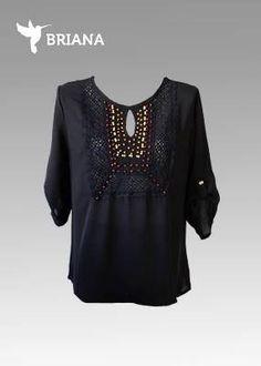 #moderna #blusa #negra con #encaje y #semillas en #cafe