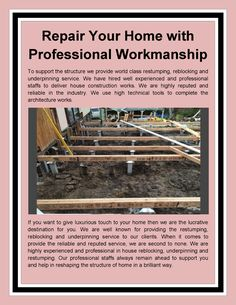 Repair Your Home with Professional Workmanship from Vic-Wide Restumping & Underpinning in Geelong, Melbourne. Foundation Repair, Home And Living, Melbourne, It Works, Presentation, Nailed It