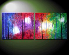 Large Modern Abstract Landscape Tree Painting Rainbow Colors Fantasy Forest Original Fine Art Contemporary Diptych Two Canvas 20x48 JMS. $159.99, via Etsy.