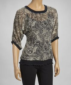 Take a look at this Black & Taupe Shirred Top by Simply Irresistible on #zulily today!
