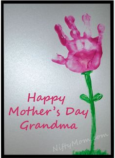 Grandma's Day Gift - Cardstock, finger paint, lettering/embellishments & a picture frame. This will be a cute project for my child to do this year!!