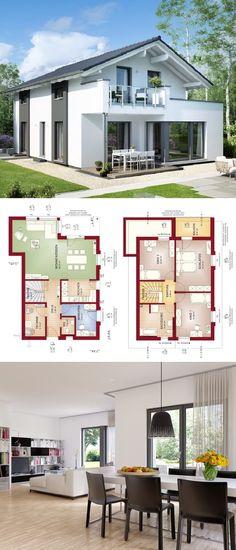 Einfamilienhaus modern mit Satteldach Architektur & Erker Anbau mit Balkon - Haus bauen Grundriss Fertighaus Edition 2 V3 Bien Zenker Hausbau Ideen - HausbauDirekt.de