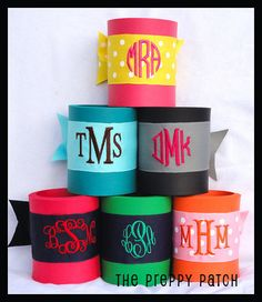 3 Initial Embroidered Monogrammed Koozie 14 by thepreppypatch