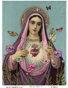 Our Lady in Purple Sacred Heart of Mary. Oh sweet sweet Mother of God we honor you and praise your love and intersession to Jesus. Ask Mary and all the angels and saints to pray for you just as you would ask a friend. Blessed Mother Mary, Blessed Virgin Mary, Virgin Mary Art, Virgin Mary Painting, Divine Mother, Religious Icons, Religious Art, Religious Images, Jesus E Maria