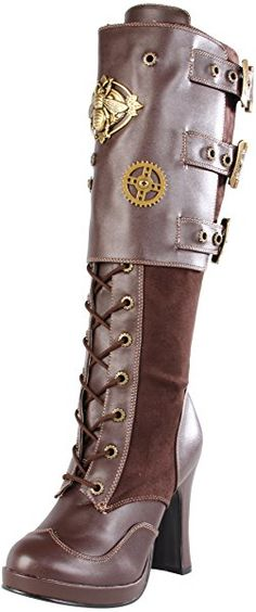 Pleaser Women's Crypto-302 Knee-High Boot,Brown Polyurethane,9 M US