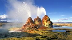World's Beautiful Landscapes.: Fly Geyser in black rock desert, USA
