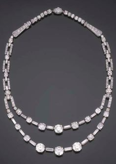 AN IMPORTANT ART DECO DIAMOND AND PLATINUM NECKLACE , BY CARTIER, PARIS, CIRCA 1930. Length 35.8cm. Signed Cartier Paris, and numbered. #Cartier #ArtDeco #necklace