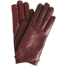 Burgundy guccisima leather gloves (€355) ❤ liked on Polyvore featuring…