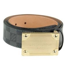louis vuitton graphitte damier leather enamle plaque buckle belt