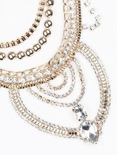 Gold Vintage Crystal Bib Necklace   Helen's Jewels