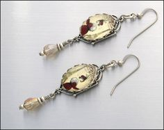Silver Dangle Charm Earrings with Crystals Oh by BlackberryDesigns