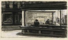 reveriecinemaverite:  Study for Nighthawks (Edward Hopper, 1941 or 1942)