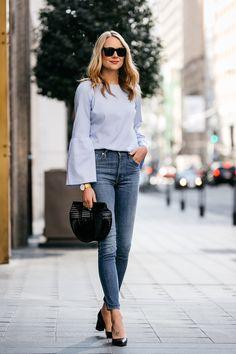 Fashion Jackson, Street Style, Blue Bell Sleeve Top, Levi's Mile High Skinny Jeans, Cult Gaia Black Acrylic Ark Clutch, Marc Fisher Zala Black Pumps