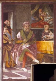 ARCIMBOLDO, Giuseppe (b. 1526, Milano, d. 1593, Milano)   Click! Scenes from the Life of St John the Baptist  1545 Fresco San Maurizio al Monastero Maggiore, Milan  Two of the frescoes, (The Naming of the Baptist and Salome Receiving the Baptist's Head) that adorn the side walls of the chapel dedicated to St John the Baptist in the public church of San Maurizio al Monastero Maggiore are attributed to Giuseppe Arcimboldo