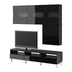 "BESTÅ TV storage combination/glass doors, Tofta high-gloss/black, black-brown Width: 70 7/8 "" Min. depth: 7 7/8 "" Max. depth: 15 3/4 "" Width..."
