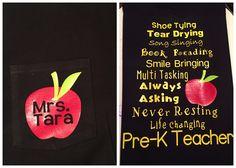 Pre-k htv teacher shirt, Apple monogram