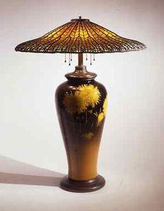 Tiffany Studios, New York, Lotus Library Lamp, 1900-1910, leaded glass, glazed earthenware