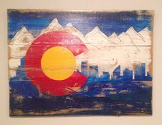 """Colorado State Flag 24"""" x 17"""" reclaimed wood by BOARDandWIRED on Etsy https://www.etsy.com/listing/177880271/colorado-state-flag-24-x-17-reclaimed"""