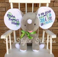 Personalized humphrey the elephant plush birth weight dream big birth announcement elephant perfect baby gift personalized negle Images
