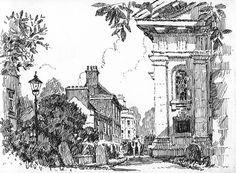 Greenwich, London, St Alfege, church, pen drawing