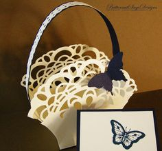 Today's challenge at SU ONLY asks for frills and now that I do not have a lot of fancy ribbon I decided to frilly up a basket with lace u. Paper Art, Paper Crafts, Magic Box, Diy Crafts For Gifts, Scrapbooking, Unique Cards, Easter Baskets, Stampin Up Cards, Card Making