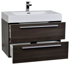 "31.5"" Wall-Mount Modern Bathroom Vanity Grey Oak (free shipping)"