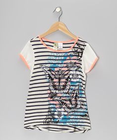 Take a look at this Live to be Spoiled Navy & Coral Butterfly Stripe Top on zulily today!