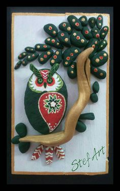 Handpainted Owl Pebble Art Stone Art pallet wood by StefArtNatural