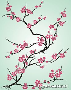 Сакура из Японии (трафарет для стен)