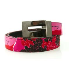 Gucci Reversible Belt Red Pink White Canvas and Black Leather S 70 - 38. Fabulous!