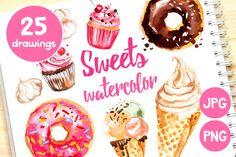 Sweets: ice cream, donuts, cupcakes by irina.vaneeva on @creativemarket