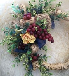 French Country Wreath, Rose Burlap, Cork Wreath, Wall Accent, Table Wreath, Floral Arrangement, Camel Yellow, Navy Blue Green, Wine Grapes    ~