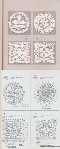 Crochet Pattern Crochet Doily Diagram, Crochet Square Patterns, Crochet Blocks, Crochet Squares, Crochet Motif, Crochet Doilies, Crochet Flowers, Crochet Stitches, Knit Crochet