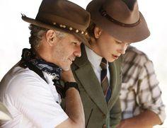 Baz Luhrmann and Nicole Kidman on the set of Australia.
