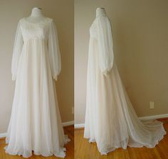 VINTAGE HOUSE OF BIANCHI BOSTON SHEER LACE PEARL IVORY WEDDING DRESS GOWN TRAIN