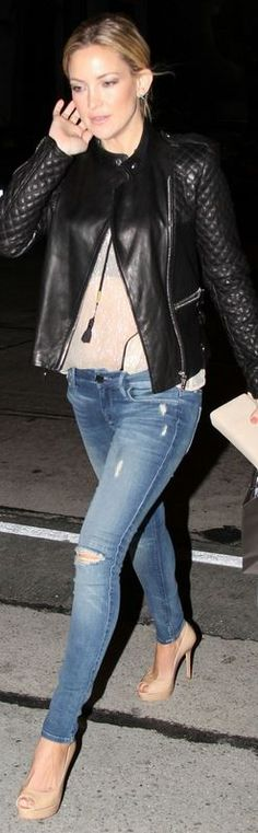 Who made Kate Hudson's black leather jacket and blue skinny jeans that she wore in West Hollywood on February 5, 2013?