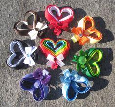 Valentine's Day Heart Ribbon Sculpture Hair Clippies Clip.