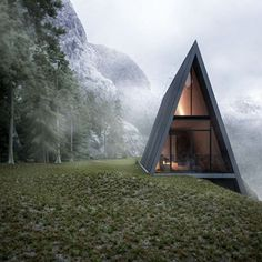"""I would rather wake up in the middle of nowhere than in any city on earth."" - Steve McQueen • Conceptual A-Frame cabin designed by German architect Matthias Arndt #goodmorning #nature"